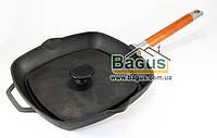 Сковорода-гриль чугунная 26х26см квадратная с чугунным прессом 21х21см 1,5кг и съемной ручкой Биол 1026П-1