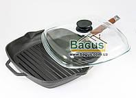 Сковорода гриль чугунная 28х28см квадратная со стеклянной крышкой и съемной ручкой Биол (1028С)