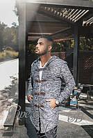 Мужская кофта с карманами и капюшоном. Тёмно синяя с белым