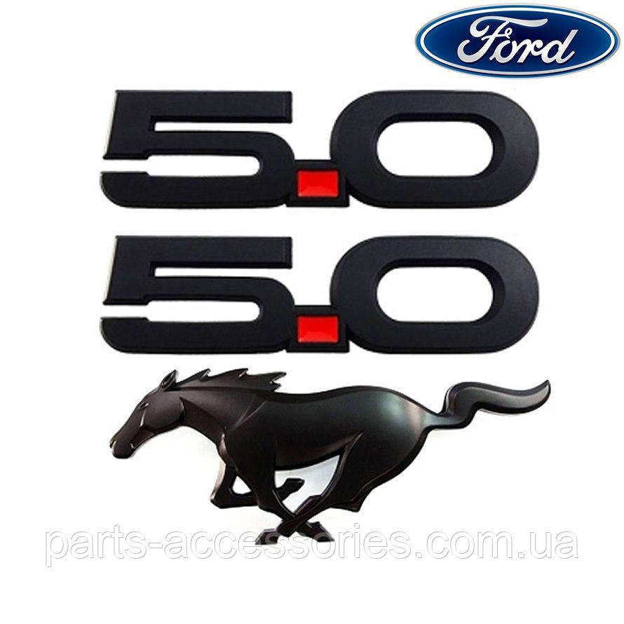 Ford Mustang GT 5.0 2015-17 комплект черных значков на крылья и решетку радиатора новые оригинальные