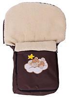 Зимний конверт Qvatro №20 с аппликацией коричневый (мишка на облаке) 88253