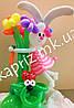 Зайка с букетом цветов из шаров