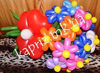 Красивый букет разноцветных цветков из шаров с желтыми серединками