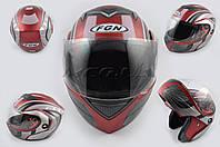 """Шлем трансформер   """"FGN""""   (mod:J) (size:ХL, красный матовый с узором)"""
