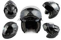 """Шлем трансформер   """"HELMO""""   (mod:FL258) (size:XL, черный)"""