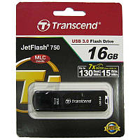 Флешка  16Gb Transcend 750 USB 3.0, MLC, Black (скоростная 130Mb/15Mb)