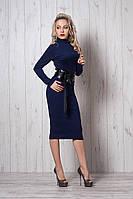 Модное платье за колено с поясом от Ангелины