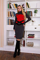Теплое женское вязаное серое платье Катерина Modus  44-48 размеры
