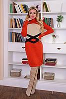 Теплое женское вязаное платье Катерина Modus терракот  44-48 размеры