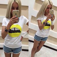 """Веселая, молодежная футболка """"Yelllow lips"""" декорировано пайетками. РАЗНЫЕ ЦВЕТА"""