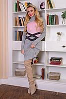 Теплое женское вязаное светло-серое платье Катерина Modus 44-48 размеры