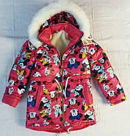 Зимняя куртка для девочки на овчине Микки
