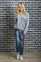 Модная кофта с капюшоном светло-серая