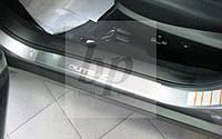 Защитные хром накладки на пороги Subaru Outback IV BM (субару аутбек 2009-2014)