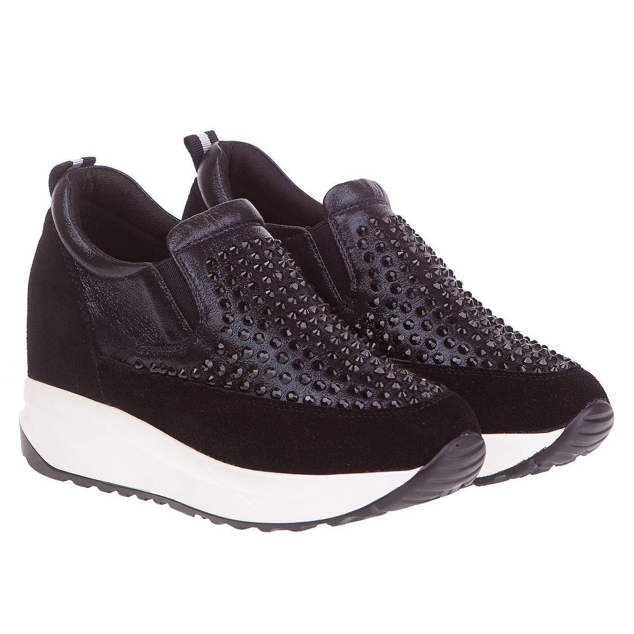 Кроссовки женские Gelsomino (черные, с стразами, модные, оригинальные,  удобные) e6014990fea