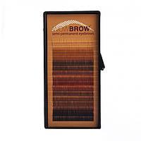 Искусственные волоски  для бровей один размер mix цветов  16 линий  Толщина 0,07 Изгиб прямые Длина 6 мм