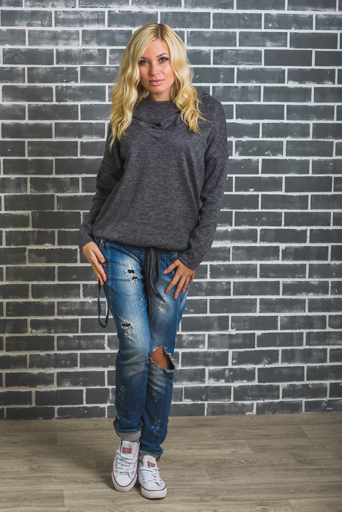 Модная кофта с капюшоном темно-серая