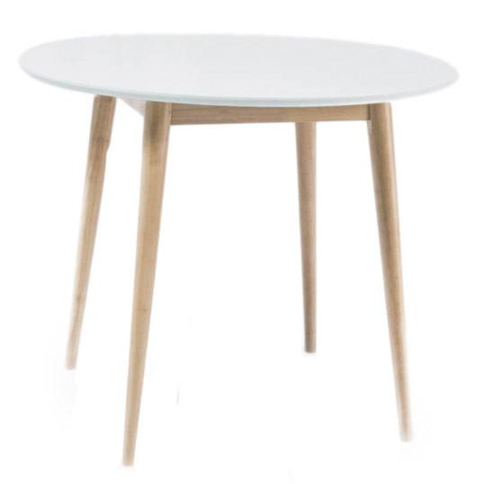 Стол обеденный Larson 90 Белый/беленый дуб (Signal TM)