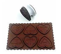 """Молд силиконовый для шоколада с оттиском для печенья """"Сердечки"""""""