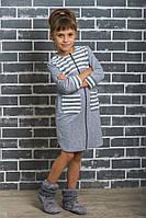 Халат для девочки светло-серый, фото 1