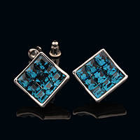 012-0031 - Серьги с кристаллами Swarovski Classic Square Turquoise Glacier Blue родий