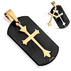 Кулон-пазл чорний хрест на золотому Spikes, фото 2