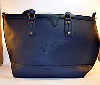 Женская сумка стильная синяя из кожзама 6100