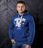 Мужская утепленная кофта с капюшоном цвета синий электрик