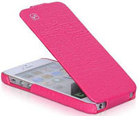 HOCO for iPhone 5/5S Bright Crocodile Flip Leather case Rose Red (HI-L016RR)