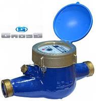 """Счётчик GROSS MNK-UA Dn15, L=165мм, Qn=1,5m3/ч многоструйный мокроход на холодную воду 1/2"""""""
