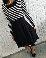 Платье приталенное с подъюбником, верх-с принтом, низ-однотонный