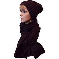Женская вязаная шапка - носок (утепленный вариант) объемной вязки и шарф - петля