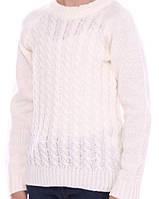 Вязаный белый свитер для девочки 116-140