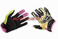 "Мотоперчатки   ""FOX""   (mod:3, size:L, зелено-черные)"