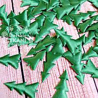 Текстильный декор для скрапбукинга: ёлочки зелёные, 4 см
