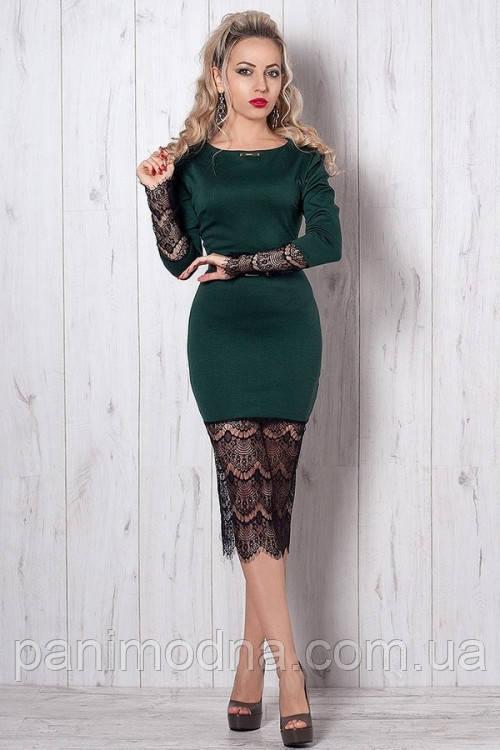 """Красивое платье-футляр с гипюром декорировано поясом  - """"Маришель"""" код 262"""
