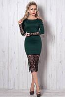 """Красивое платье-футляр с гипюром декорировано поясом  - """"Маришель"""" код 262, фото 1"""