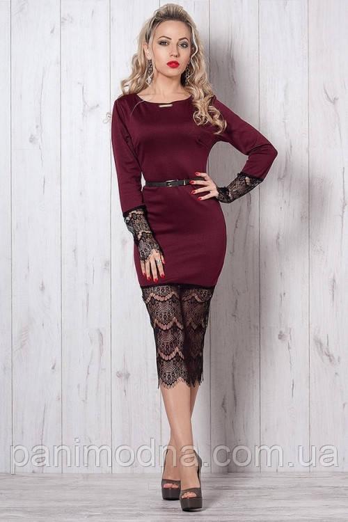 """Нарядное платье-футляр с гипюром декорировано поясом  - """"Маришель"""" код 262"""