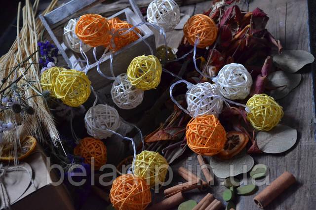 гирлянда из плетеных шариков ротанга