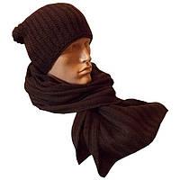 Мужская вязаная шапка - носок (утепленный вариант) объемной вязки и шарф - петля