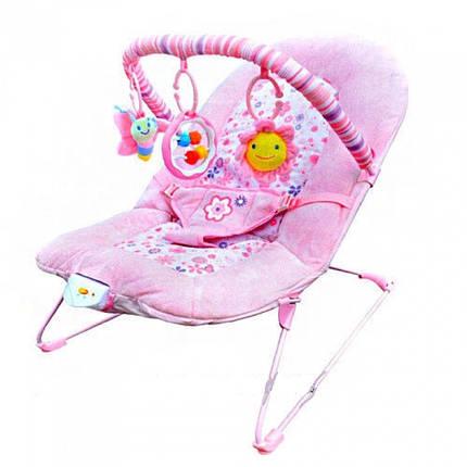 Детский музыкальный шезлонг-качалка Bambi 30602-8 розовый, фото 2