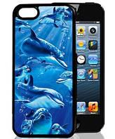 3D чехол на Iphone 5/5s, 4/4s Дельфины