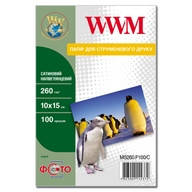 Фотобумага WWM сатиновая полуглянцевая 260г/м кв , 10см x 15см , 100л