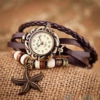 Винтажные часы - браслет с подвеской звезда Коричневый