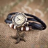 Винтажные часы - браслет с подвеской звезда Черный