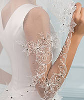 Свадебная фата с вышивкой и стразами (КВ-В-К-айв) кремовая