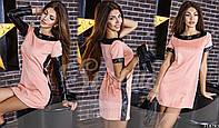 Замшевое платье со съемными кожаными рукавами