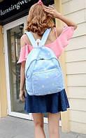 Красивый школьный рюкзак с ромашками. Голубой