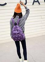 Красивый школьный рюкзак с ромашками. Фиолетовый