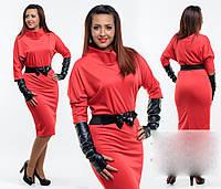 """Стильное платье """"Перчатки Эко Кожа"""" в больших размерах в расцветках (ХЗ-364)"""